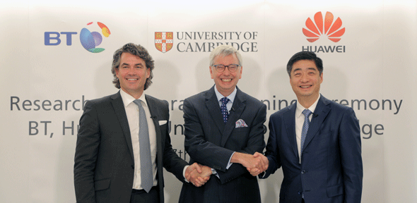 From left to right: BT CEO, Gavin Patterson, University of Cambridge Vice-Chancellor, Prof Stephen Toope and Huawei CEO, Ken Hu