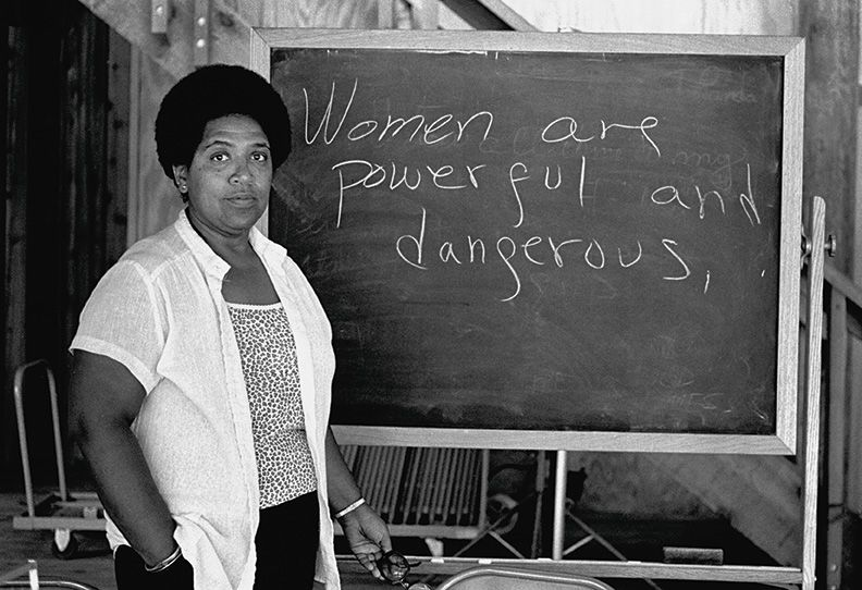Caribbean-American writer, poet and activist Audre Lorde lectures students at the Atlantic Center for the Arts in New Smyrna Beach, Florida.