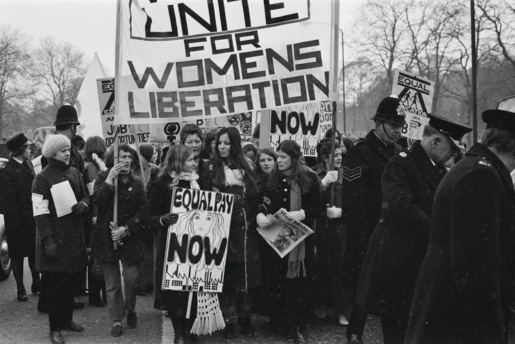 Members of the National Women's Liberation Movement go on an equal rights march from Speaker's Corner to 10 Downing Street to mark International Women's Day in London on 6 March 1971.