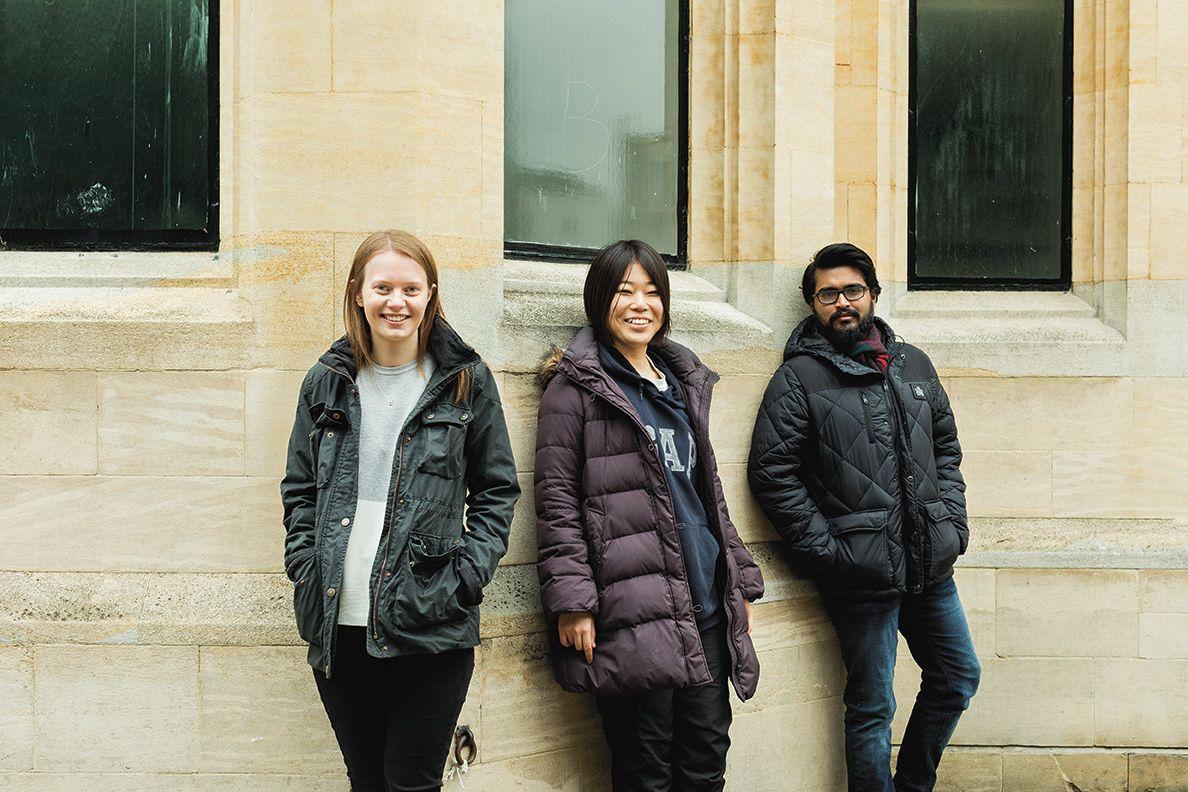 Left to right: Megan Cheyney, Shoko Hirosue and Kieran Kejiou. Photograph by Anna Huix.