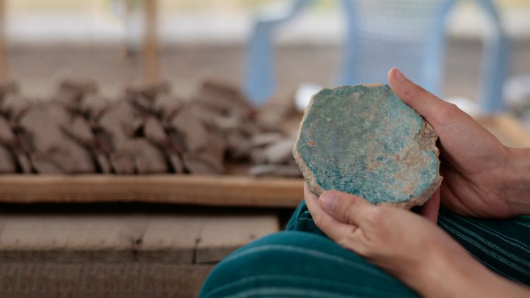 Medieval glazed pottery disc