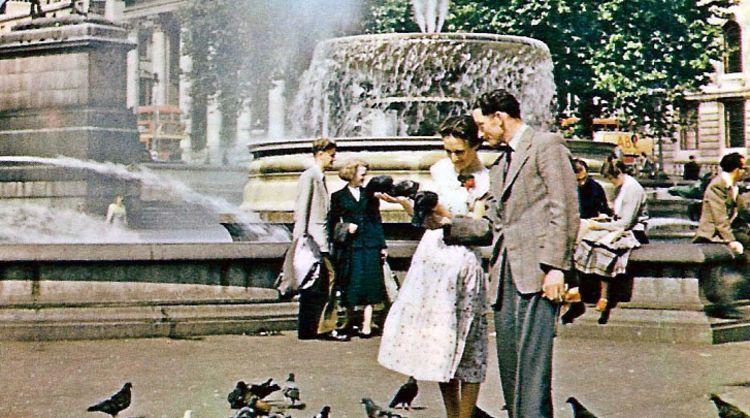 Trafalgar Square, London, in the 1950s.Courtesy of Leonard Bentley under a CC license.