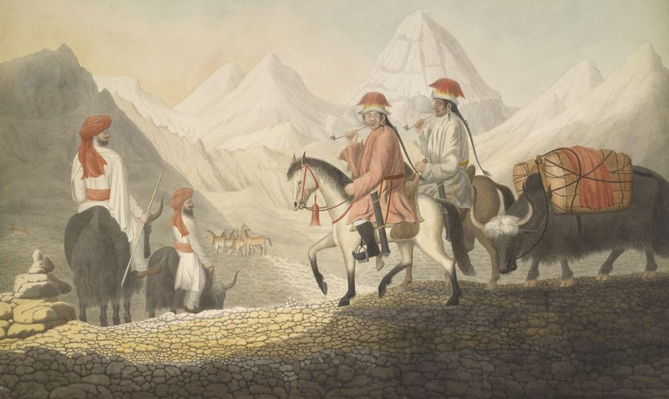 Moorcroft and Hearsay on the road to Lake Mansarowar (Tibet). c.July 1812. © The British Library Board