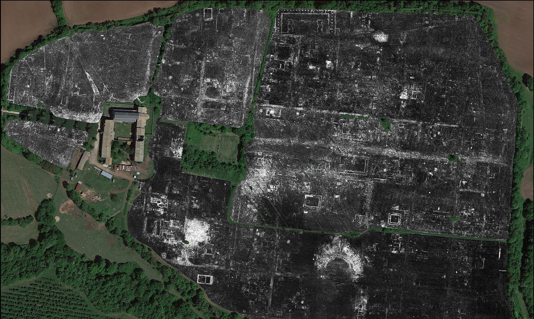 A slice of ground penetrating radar data from Falerii Novi, revealing the outlines of the town's buildings. Image: L. Verdonck