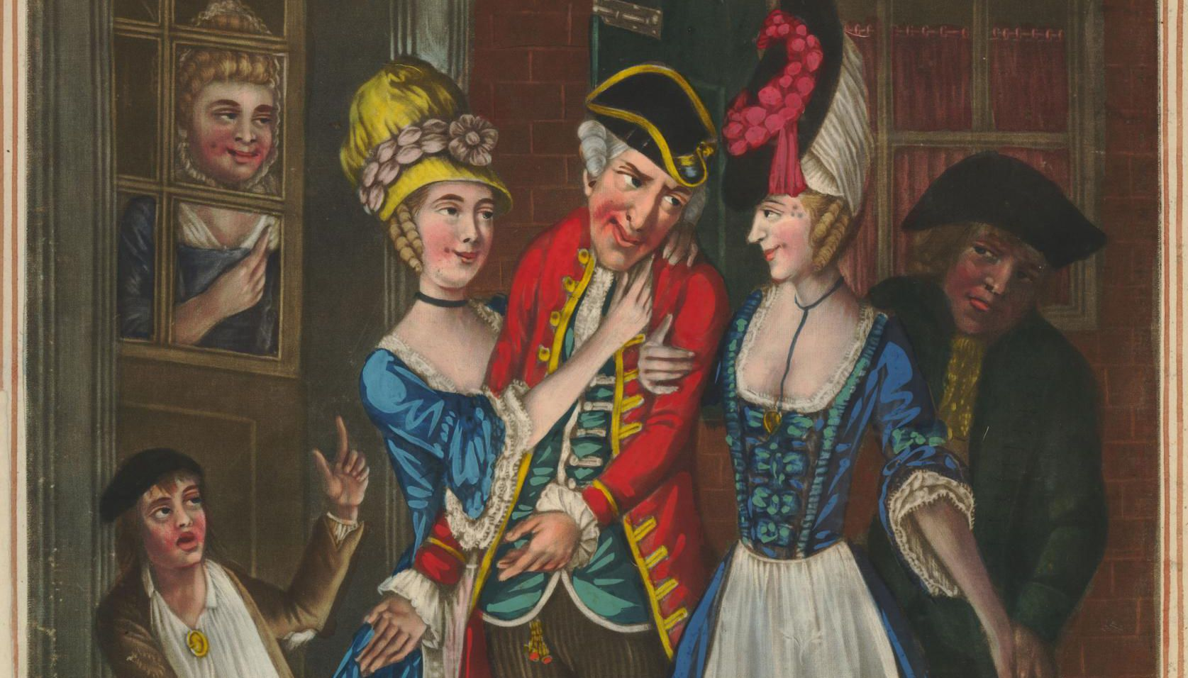 An Evenings Invitation; with a Wink from the Bagnio (1773), depicting a man being led down a street by two prostitutes in Georgian London. © The Trustees of the British Museum