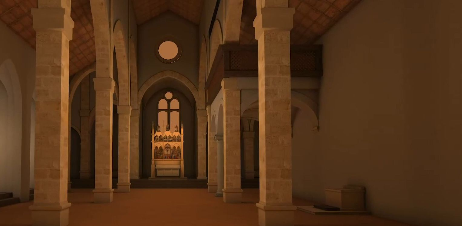 The nave of the church of San Pier Maggiore as visualised by the 'Hidden Florence 3D: San Pier Maggiore' app