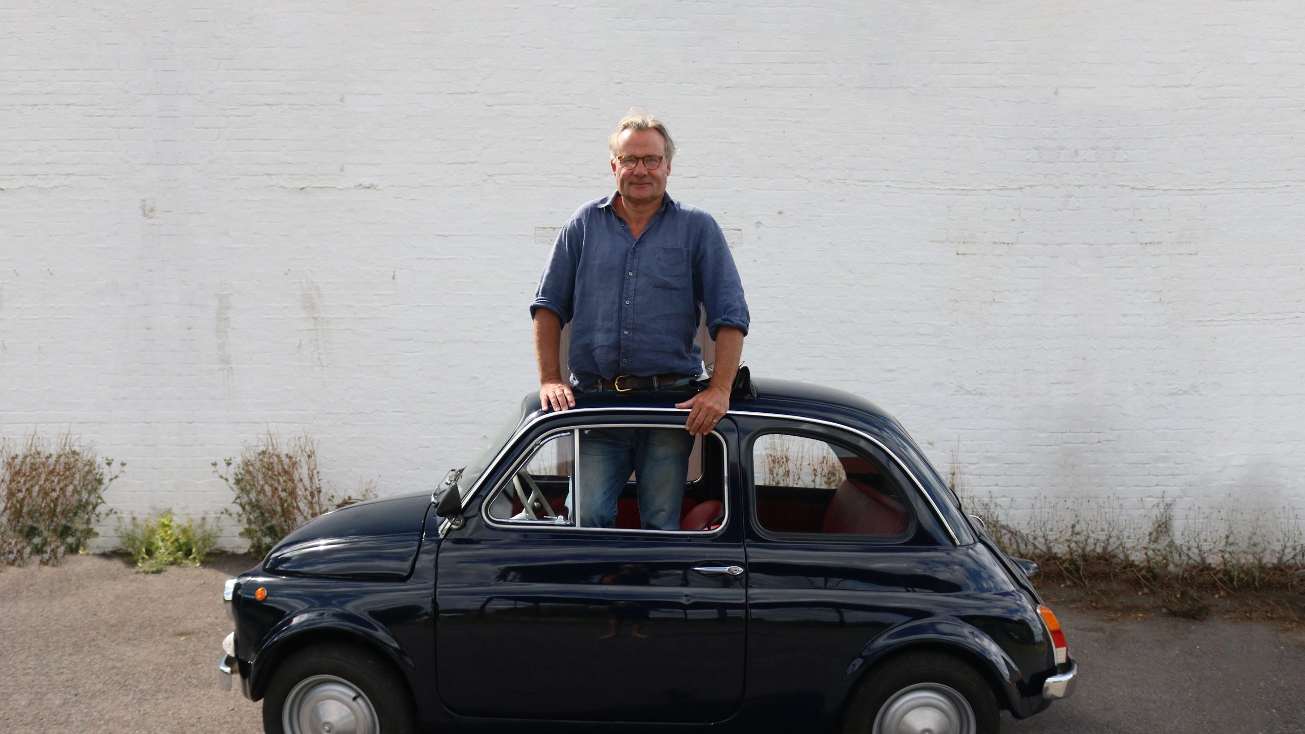 Richard Watson in a Fiat 500