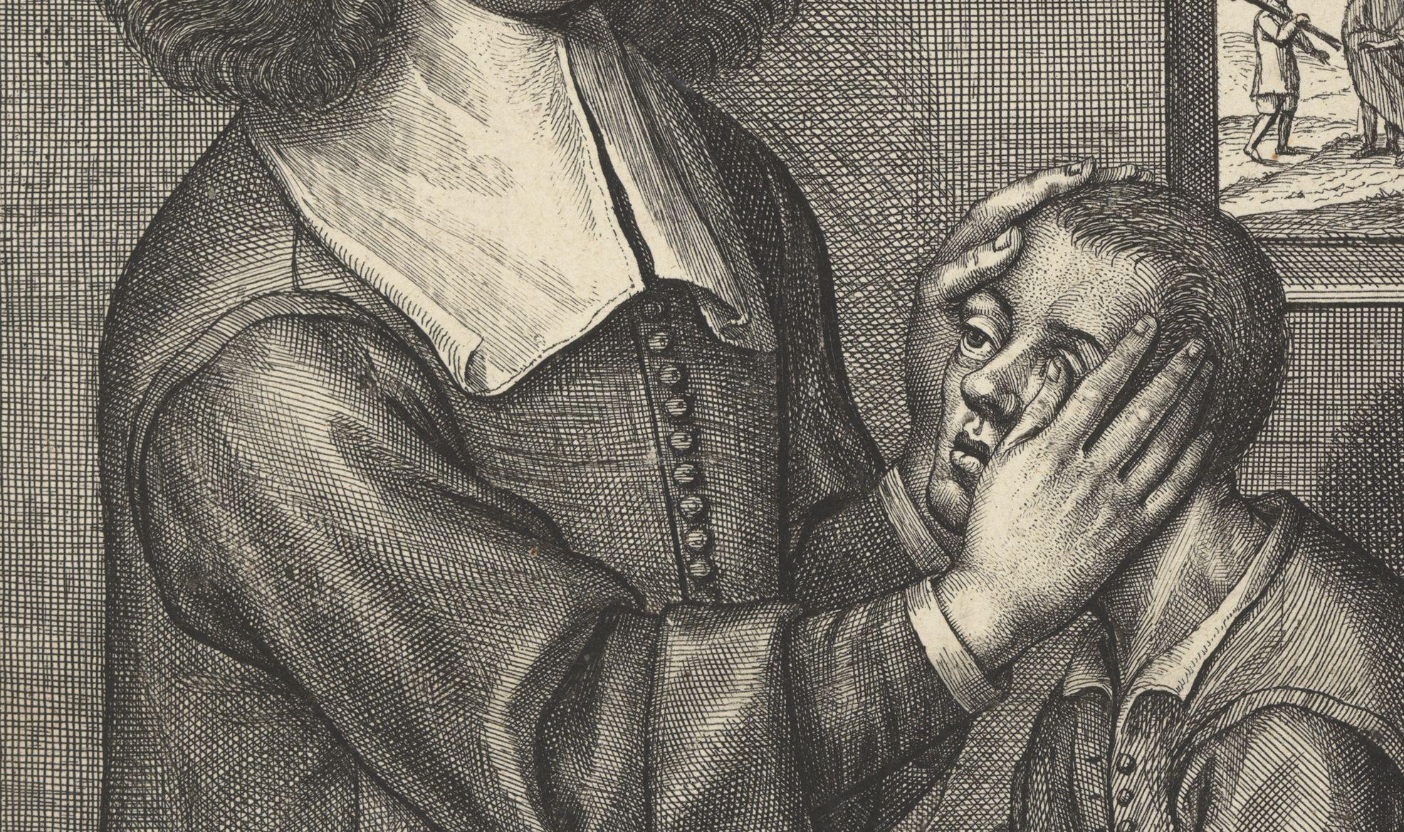 William Faithorne, Portrait of Valentine Greatrakes [detail]. Engraving on paper, 1666. Fitzwilliam Museum, Cambridge