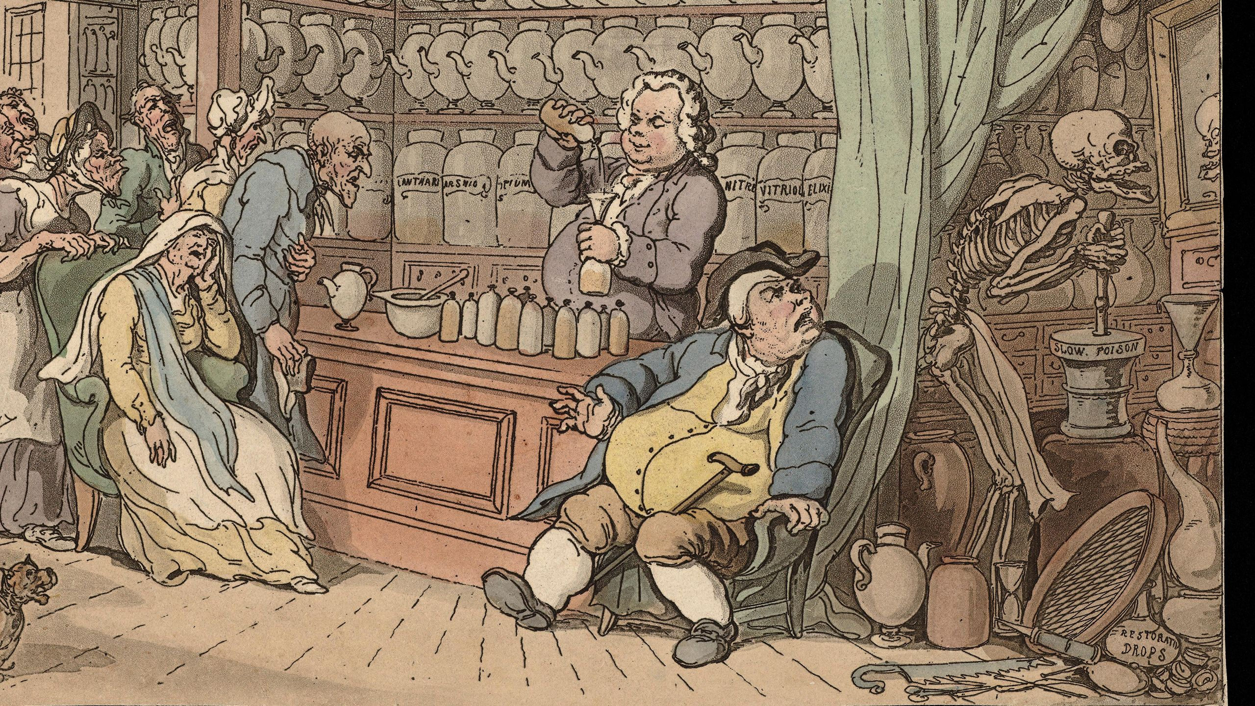 Thomas Rowlandson, The dance of death: the apothecary. Coloured aquatint, 1816. Image: Wellcome Collection. Public Domain
