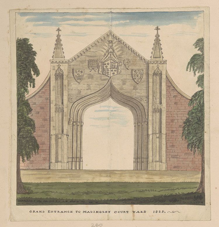Drawing of the gateway at Madingley Hall