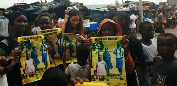 Charlotte Dixon working in Sierra Leone