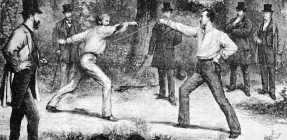 """The Code Of Honor—A Duel In The Bois De Boulogne, Near Paris"", wood engraving by Godefroy Durand"
