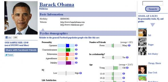 A screengrab of Barack Obama's typical Facebook fan from LikeAudience.