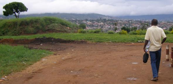 View of hills in Kigali, Rwanda.