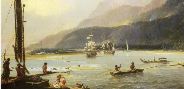 Detail of A View of Maitavie Bay, on the island of Otaheite by William Hodges