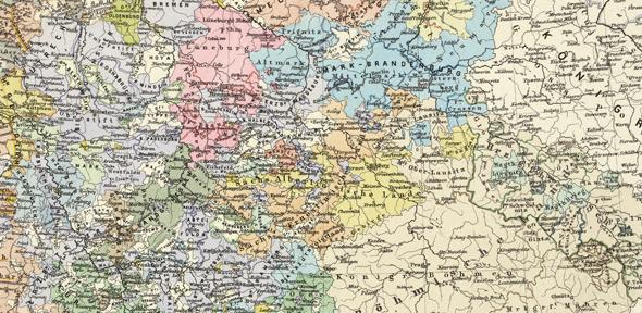 Detail of a map of the Holy Roman Empire, 1492 - 1618.