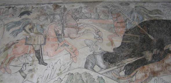 17th-century mural at Madingley Hall