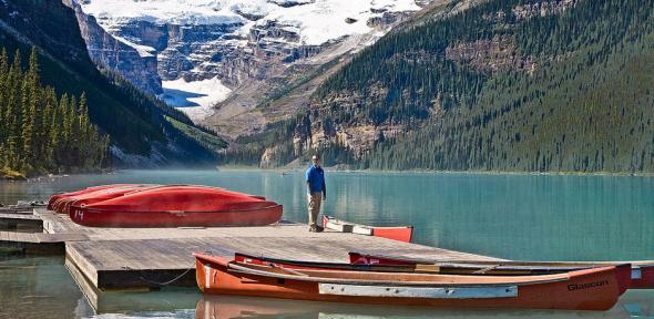 Red Canoes at Lake Louise