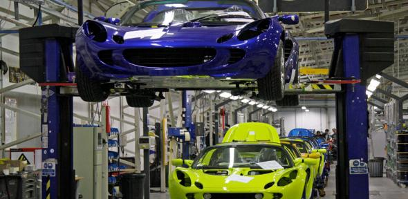 Final assembly at the Lotus Cars factory, Hethel, Norfolk.