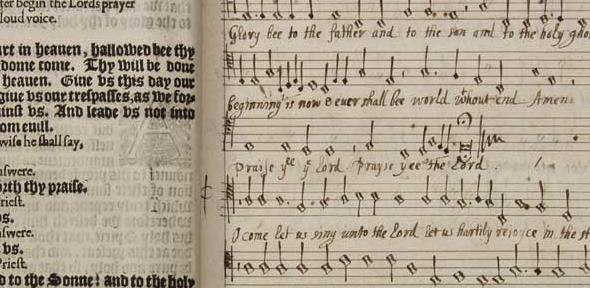 Book of Common Prayer, interleaved with 16th/17th century English servce music