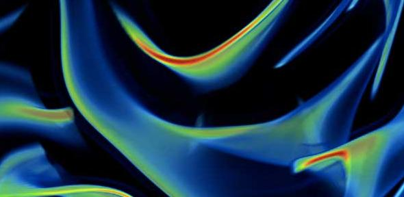 Filaments of dissolved material, stirred by turbulence