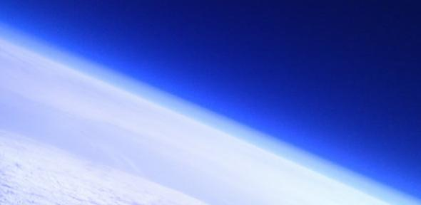 Image taken in stratosphere using Android phone, from previous CUSF project 'Squirrel 3' which used smartphone to pilot high-altitude balloon