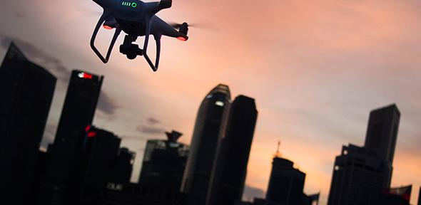 Drone and city skyline