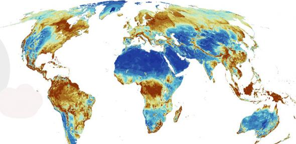Map showing global areas of importance for terrestrial biodiversity, carbon and water