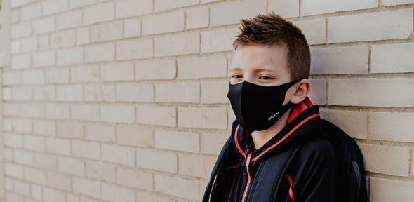 Boy wearing face mask