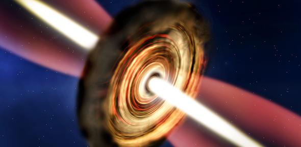 Ilustración de artista del disco y la emisión de material alrededor de una estrella joven masiva. Crédito: A. Smith, Institute of Astronomy, Cambridge