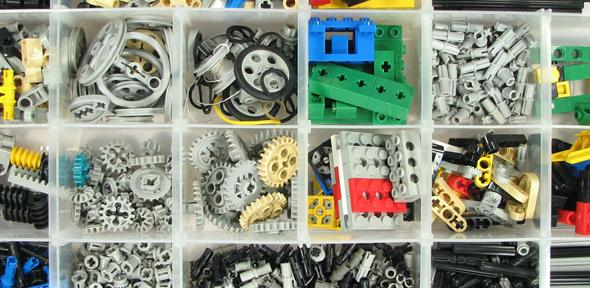 Lego ordered into compartments