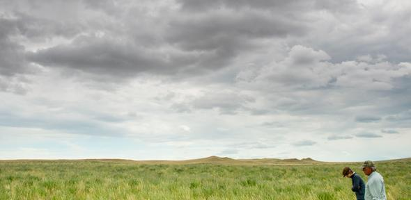 A farmer with a conservationist in Montana, USA