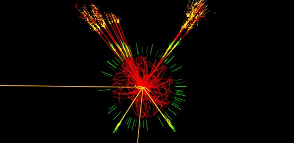 Simulated production of a Higgs event in ATLAS