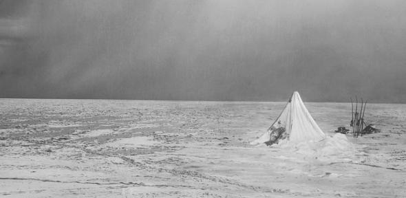 This photograph is a composite image made by Ponting to  capture the desolation of the Polar Party.