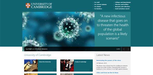 Snapshot of the University of Cambridge homepage