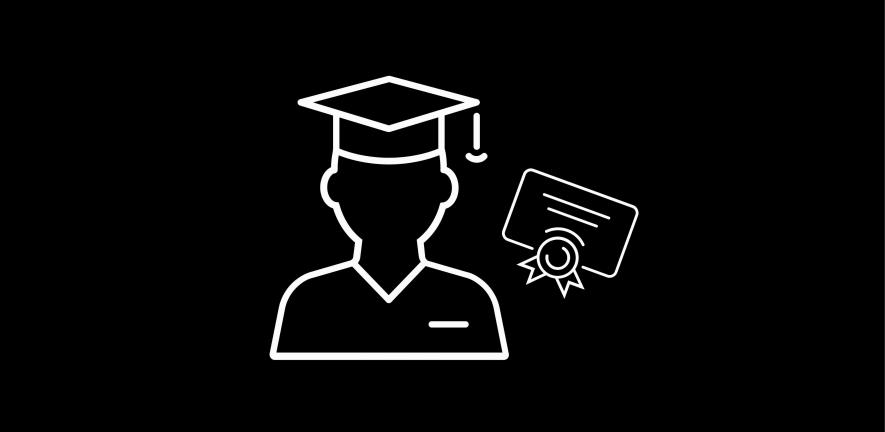 Graduate with certificate icon
