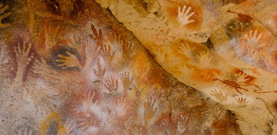 Handprints in the Cueva de las Manos, Patagonia, made by hunter-gatherers around 9,000 years ago