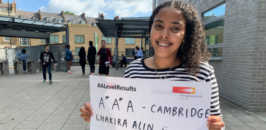 City and Islington College student Chakira Alin, 18, who is #GoingToCambridge