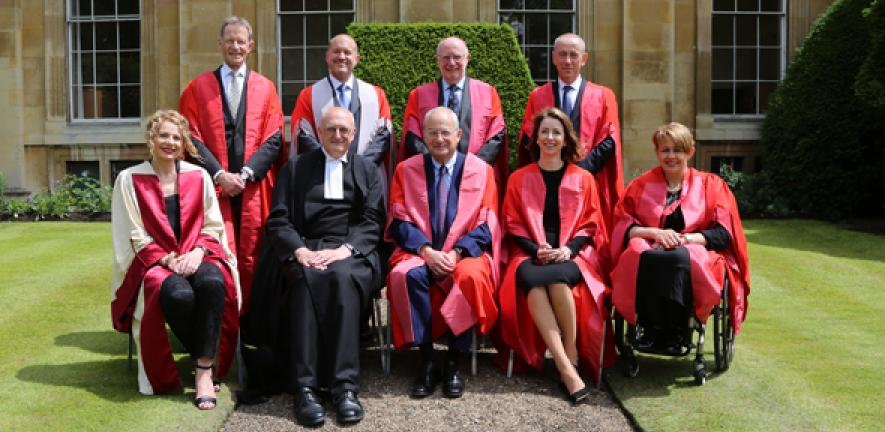 From left: Honorary graduates , Nicholas Serota, Jony Ive, Keith Peters, Helen Morrissey, Nicholas Hytner and Tanni Grey-Thompson with Vice-Chancellor Professor Sir Leszek Borysiewicz and Chancellor Lord Sainsbury
