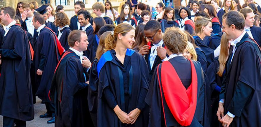 Higher degree graduands outside Senate House