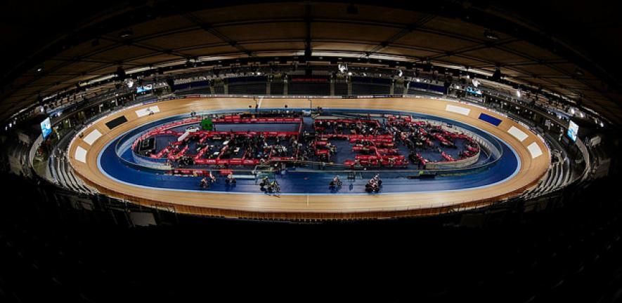 The view from the top of the stands of Lee Valley VeloPark, London.