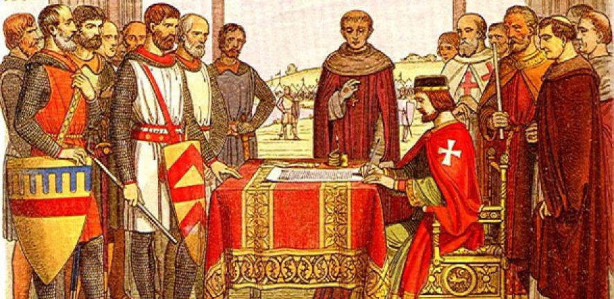 19th-century recreation of King John signing the Magna Carta