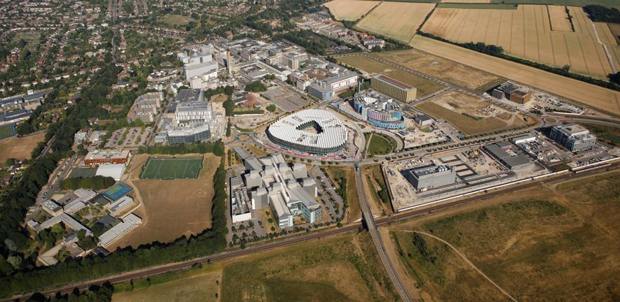 Aerial view of Cambridge Biomedical Campus