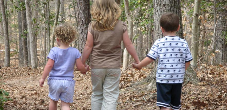 Children Walking on Trail