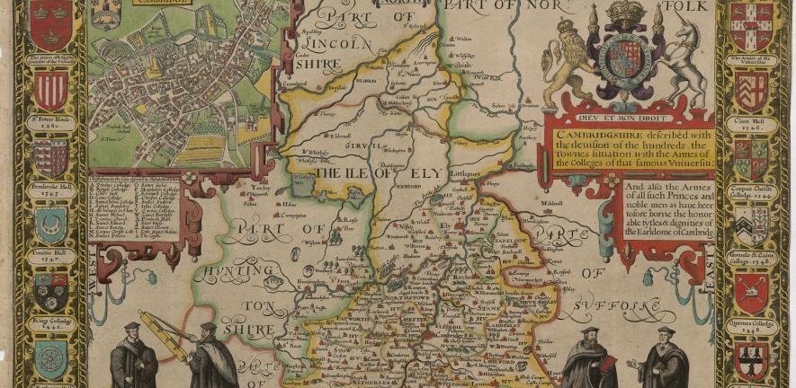 John Speed's proof map of Cambridgeshire