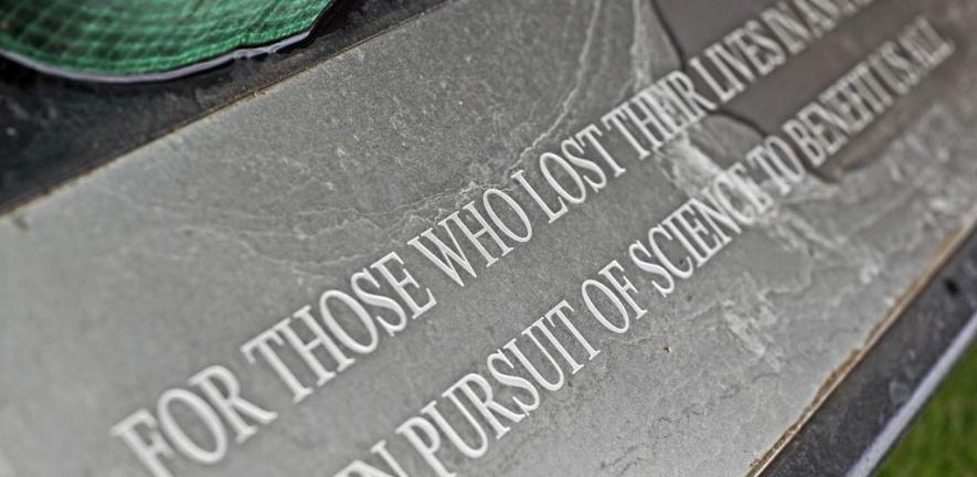 Inscription on the new memorial at SPRI