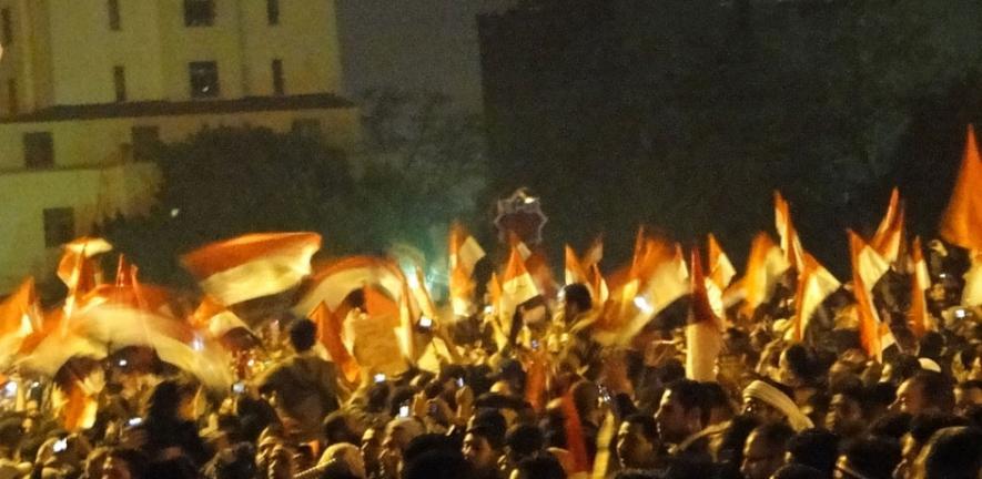 Celebrating in Tahrir Square