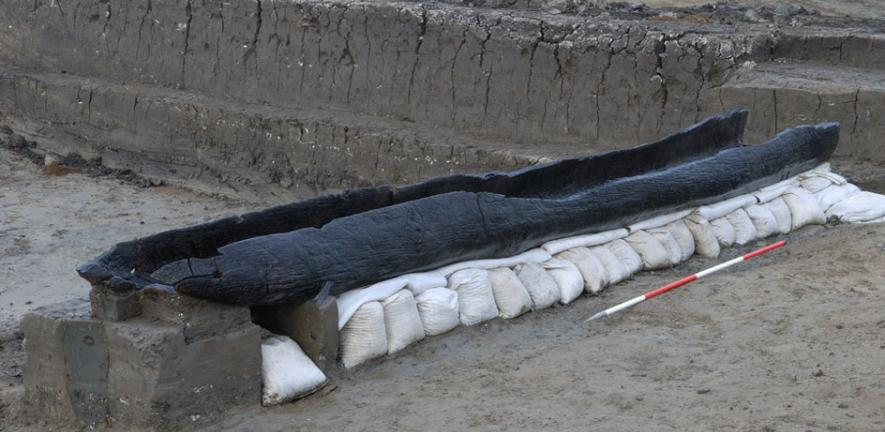 One of six Bronze Age boats found during the excavation at Must Farm Quarry.