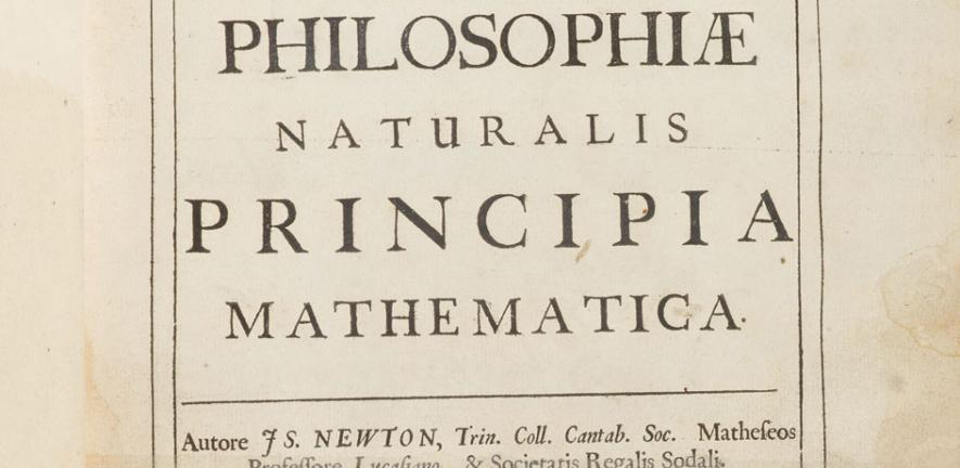 Digitised versions of the title page from Newton's own copy of Principia