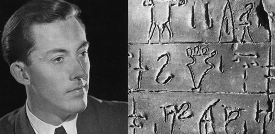Michael Ventris (left) and (right) a detail of the Pylos Tablet Ta641 inscribed with Linear B